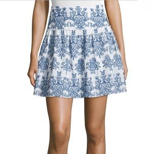 Nicholas embroidered blue cotton skirt floral 6